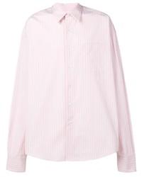 Camisa de manga larga de rayas verticales rosada de Ami Paris