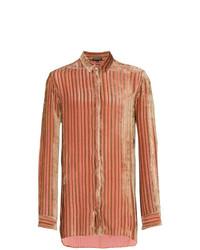 Camisa de manga larga de rayas verticales rosada de Ann Demeulemeester
