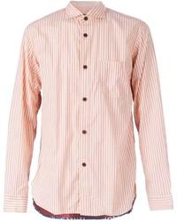 Camisa de manga larga de rayas verticales rosada de Comme des Garcons