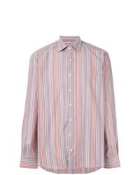 Camisa de manga larga de rayas verticales rosada de Etro