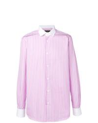 Camisa de manga larga de rayas verticales rosada de Gabriele Pasini