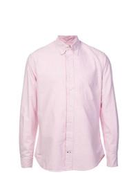 Camisa de manga larga de rayas verticales rosada de Gitman Vintage