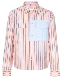Camisa de manga larga de rayas verticales rosada de Maison Margiela