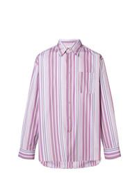 Camisa de manga larga de rayas verticales rosada de Marni