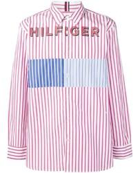 Camisa de manga larga de rayas verticales rosada de Tommy Hilfiger