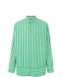 Camisa de manga larga de rayas verticales verde