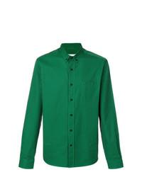 Camisa de manga larga de rayas verticales verde oscuro de AMI Alexandre Mattiussi
