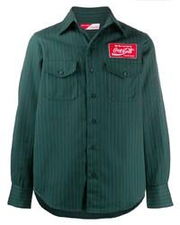 Camisa de manga larga de rayas verticales verde oscuro de Facetasm