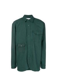 Camisa de manga larga de rayas verticales verde oscuro de Han Kjobenhavn