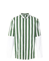 Camisa de manga larga de rayas verticales verde oscuro de Sunnei