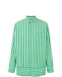 Camisa de manga larga de rayas verticales verde de AMI Alexandre Mattiussi