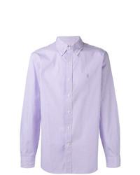 Camisa de manga larga de rayas verticales violeta claro de Polo Ralph Lauren