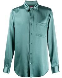 Camisa de manga larga de seda en verde menta de Sies Marjan