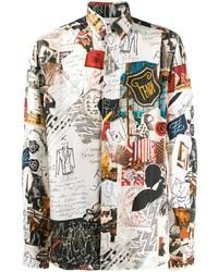 Camisa de manga larga de seda estampada blanca de Fendi