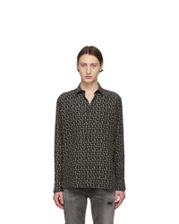 Camisa de manga larga de seda estampada negra