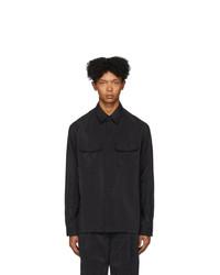 Camisa de manga larga de seda negra