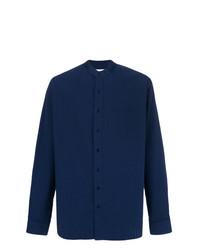 Camisa de manga larga de seersucker azul marino de Schnaydermans
