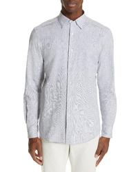 Camisa de manga larga de seersucker azul