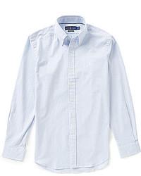 Camisa de manga larga de seersucker celeste
