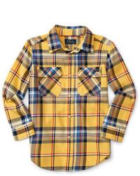 Camisa de manga larga de tartán amarilla