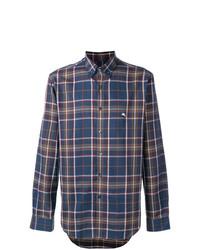 Camisa de manga larga de tartán azul marino de Etro