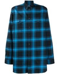 Camisa de manga larga de tartán azul marino de Givenchy