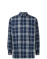 Camisa de manga larga de tartán azul marino de GUILD PRIME