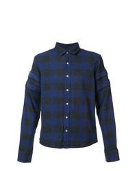 Camisa de manga larga de tartán azul marino de Mostly Heard Rarely Seen