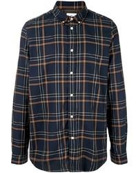 Camisa de manga larga de tartán azul marino de PS Paul Smith