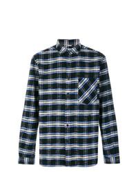 Camisa de manga larga de tartán azul marino de TOMORROWLAND