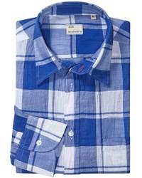 Camisa de manga larga de tartán azul