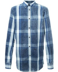 Camisa de Manga Larga de Tartán Azul de DSQUARED2