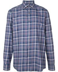 Camisa de manga larga de tartán azul de Ermenegildo Zegna