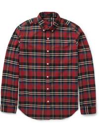 Camisa de manga larga de tartán burdeos