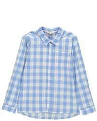 Camisa de manga larga de tartán celeste
