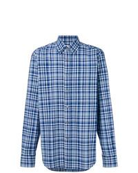 Camisa de Manga Larga de Tartán Celeste de Brioni