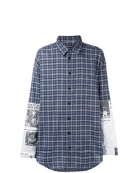 Camisa de manga larga de tartán en azul marino y blanco de Balenciaga