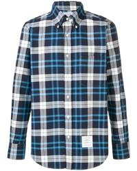 Camisa de manga larga de tartán en azul marino y blanco de Thom Browne