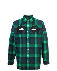 Camisa de Manga Larga de Tartán en Azul Marino y Verde de Haculla