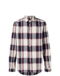 Camisa de manga larga de tartán en blanco y rojo y azul marino de Folk