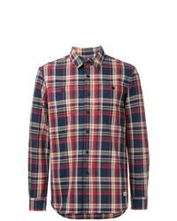 Camisa de manga larga de tartán en blanco y rojo y azul marino de Kent & Curwen