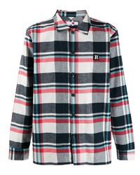Camisa de manga larga de tartán en blanco y rojo y azul marino de Tommy Hilfiger