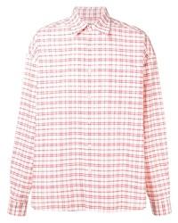 Camisa de manga larga de tartán en blanco y rojo de Ami Paris