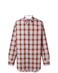 Camisa de manga larga de tartán en blanco y rojo de Calvin Klein 205W39nyc