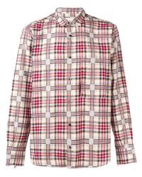 Camisa de manga larga de tartán en blanco y rojo de Corelate
