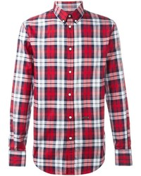 Camisa de manga larga de tartán en blanco y rojo de DSQUARED2