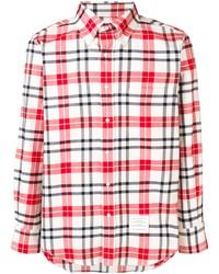 Camisa de manga larga de tartán en blanco y rojo de Thom Browne