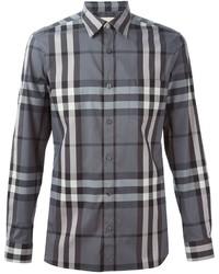 Camisa de manga larga de tartán en gris oscuro de Burberry