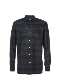 Camisa de manga larga de tartán en gris oscuro de Kiton