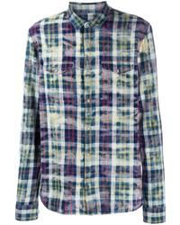 Camisa de manga larga de tartán en multicolor de John Varvatos